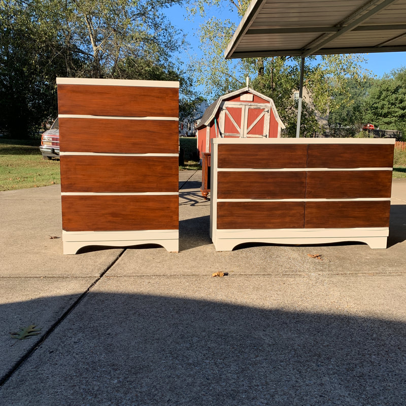 picture of dresser and chest after being painted and stained